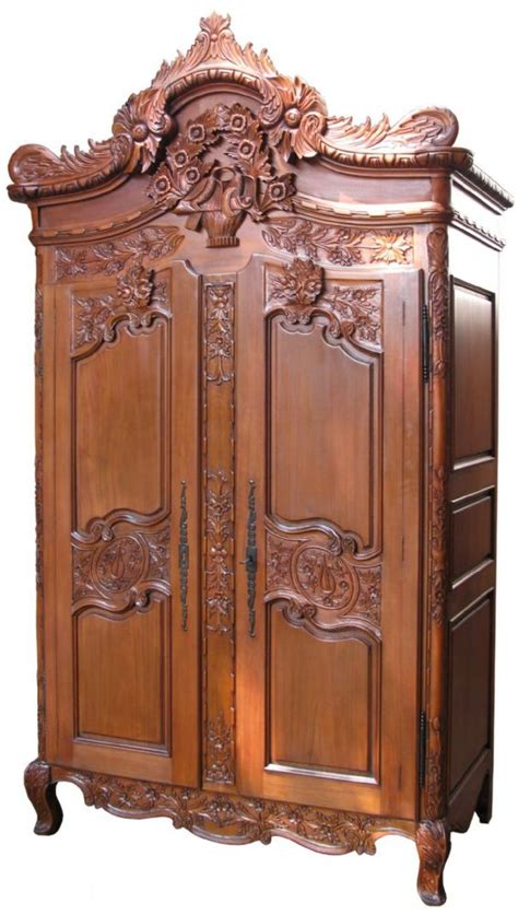 rococo crested large armoire