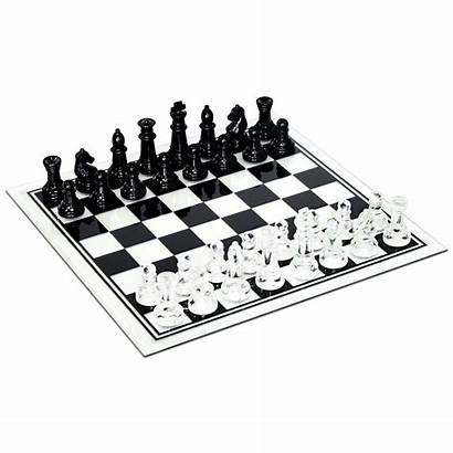 Chess Glass Clear Board Wood Sets Inches