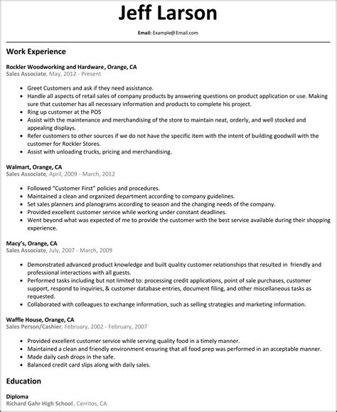 Exle Resume For Sales Associate by Sales Associate Resume Resumesles Net