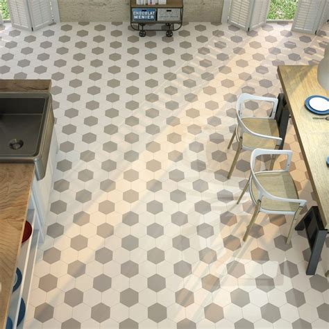 accessoire cuisine retro carrelage hexagonal blanc sol et mur parquet carrelage