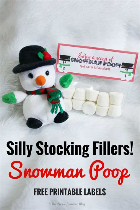 silly stocking fillers snowman poop  printable labels