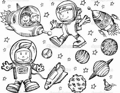 Space Outer Coloring Pages Doodle Sketch Vector