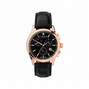 Regent Black Dial Rose Gold & Black Leather Chronograph ...