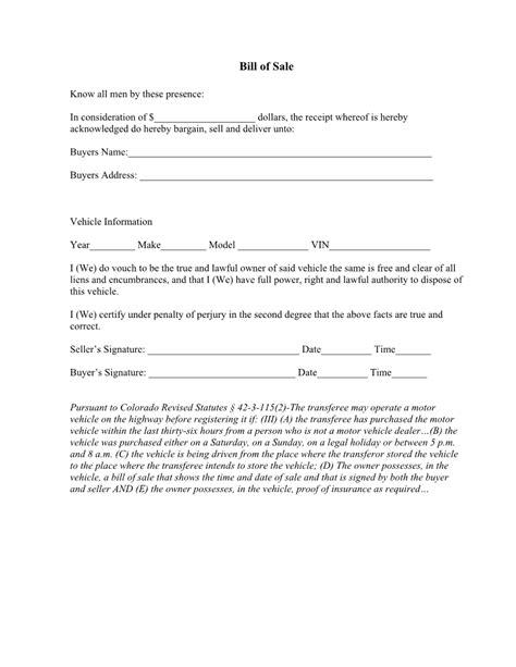 colorado vehicle bill  sale form   word