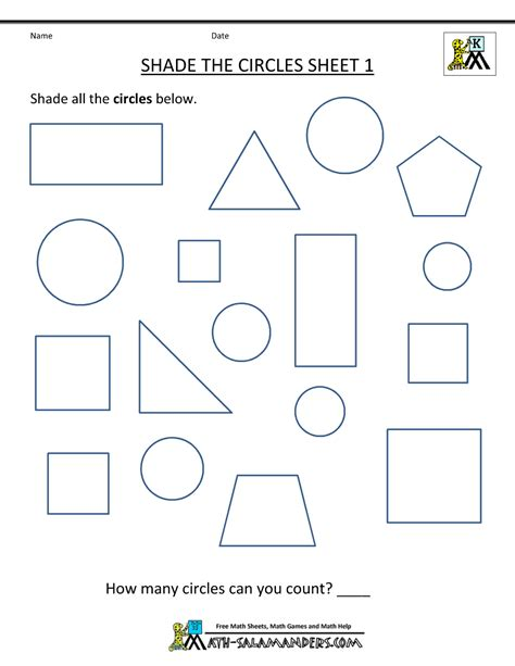 free shape worksheets kindergarten 672 | free shape worksheets shade the circles 1