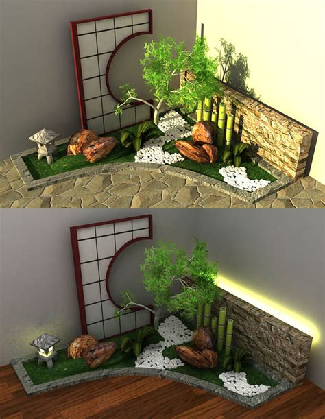 garden models japanese style garden 3d model
