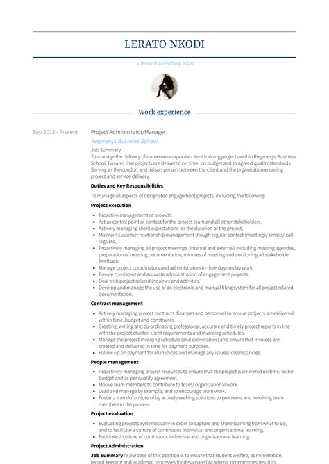 Resume In by Project Administrator Resume Sles Templates Visualcv