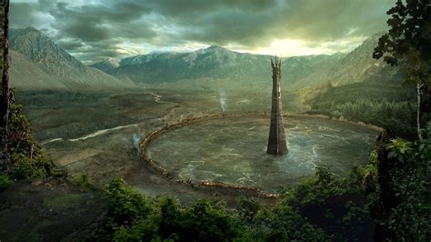 isengard fantasy art forest mountain tower water