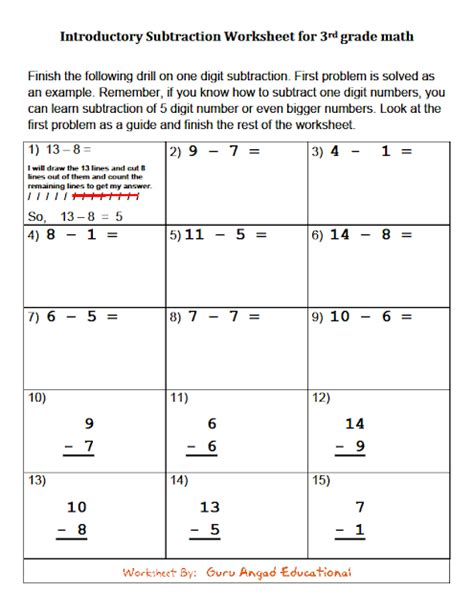 3rd grade math subtraction without regrouping