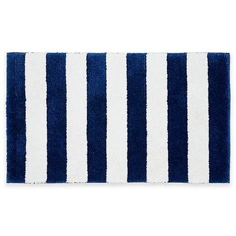 blue and white bathroom rugs buy stripe bath rug in blue white from bed bath beyond 7927