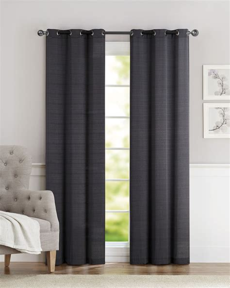 pair of clyde black window curtain panels w grommets