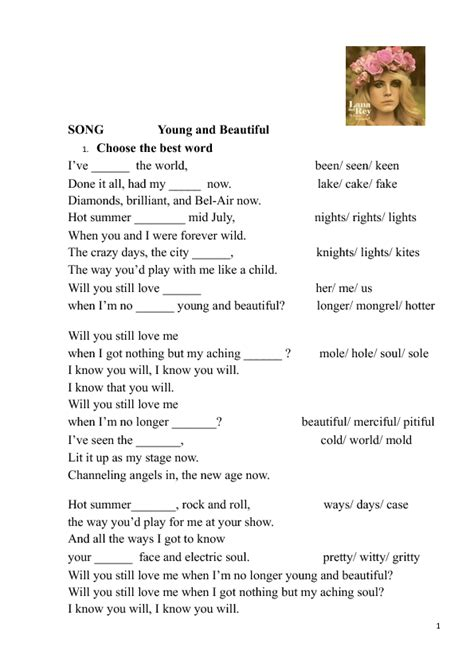 Song Worksheet Young And Beautiful By Lana Del Rey