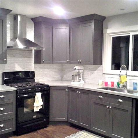 grey cabinets black appliances silver hardware