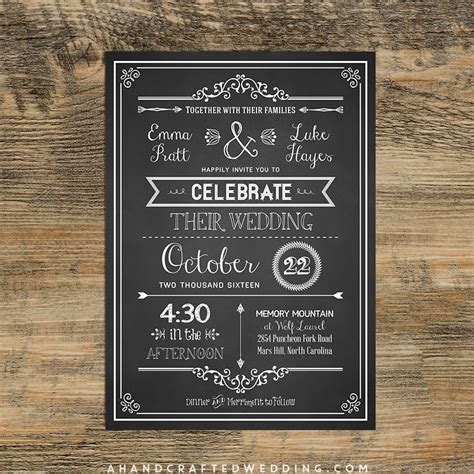 Check out this DIY Chalkboard Wedding Invitation Template