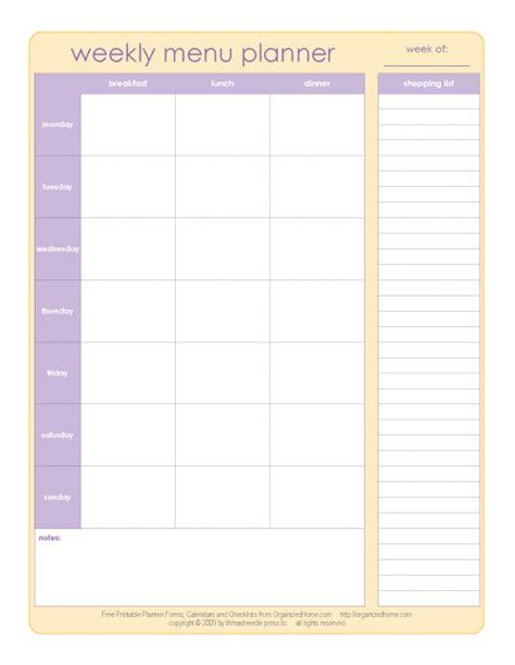 weekly menu planner template 20 free menu planner printables fab n free