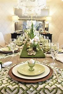 Green And White Easter Table Setting