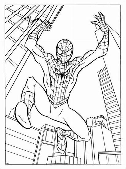 Spiderman Pages Colouring Template Templates Jumping Coloring
