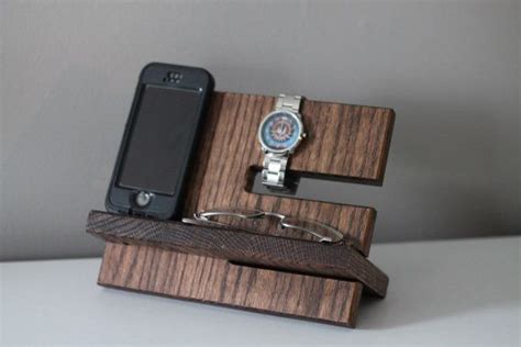 Mens Dresser Valet Stand by Oak Nightstand Valet Wooden Phone Stand Phone Charging