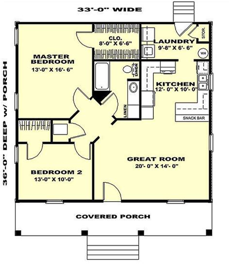 2 Bedroom 2 Bath House Plans by Country House Plan 2 Bedrms 1 Baths 1007 Sq Ft 123