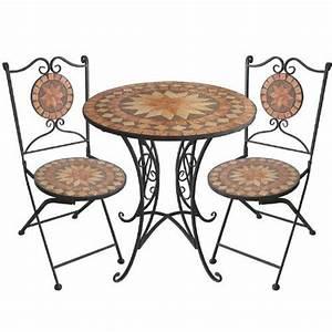 Mosaik Gartenmöbel Set : 3tlg mosaik gartengarnitur mosaiktisch 70cm ~ Watch28wear.com Haus und Dekorationen