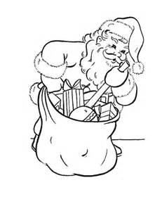 santa  busy packing  bag coloring page