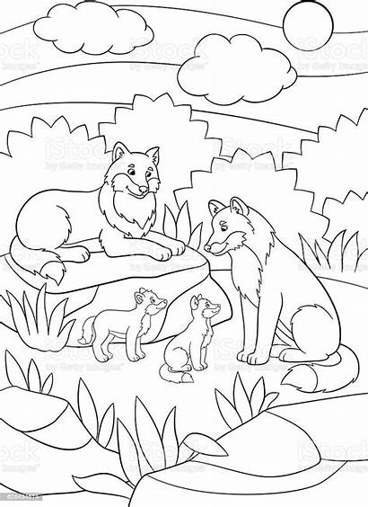 Coloring Mother Babies Wolves Father Wolf Animal