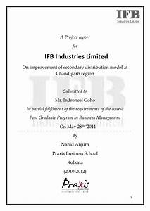 a summer internship report on ifb With covering letter for project report