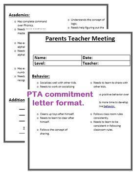parents teacher meeting commitment letter  mimi lv tpt