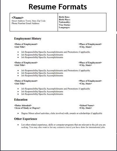 different types of resume formats that will give your resume a professional design sure