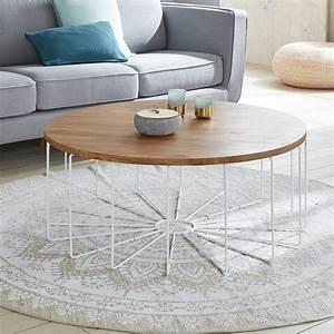Table Ronde Aluminium : table basse ronde en bois de teck et m tal 100 bois dessus bois dessous ~ Teatrodelosmanantiales.com Idées de Décoration