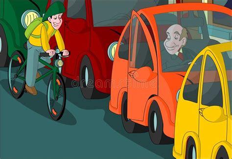 Boy Riding Bike Door Opening Car Stock Illustration