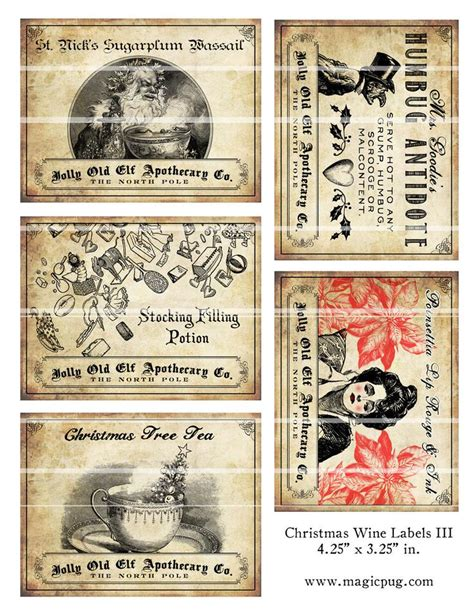 antique christmas potion wine labels     magicpug