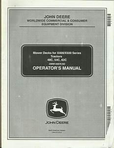 John Deere Mower Decks 48c 54c 62c X400  X500 Series