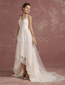 summer wedding dresses 2017 lace high low v neck bridal With robe courte mariage avec parure mariage or blanc