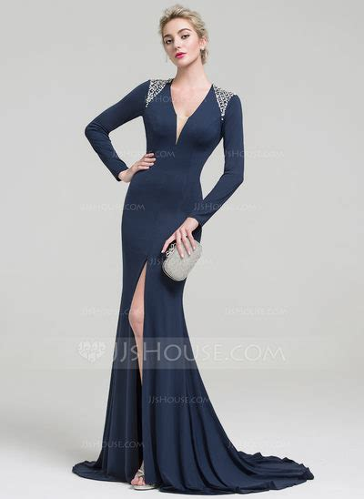 trumpetmermaid  neck sweep train jersey evening dress