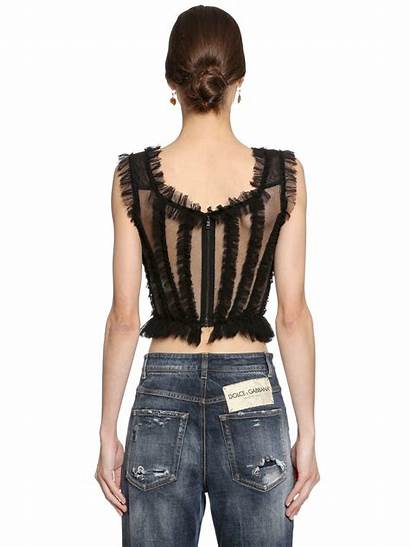 Dolce Gabbana Bustier Tulle Ruffled Stretch