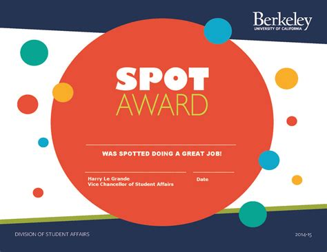 Spot Award Certificate Template by Staff Recognition Program Uc Berkeley Division Of