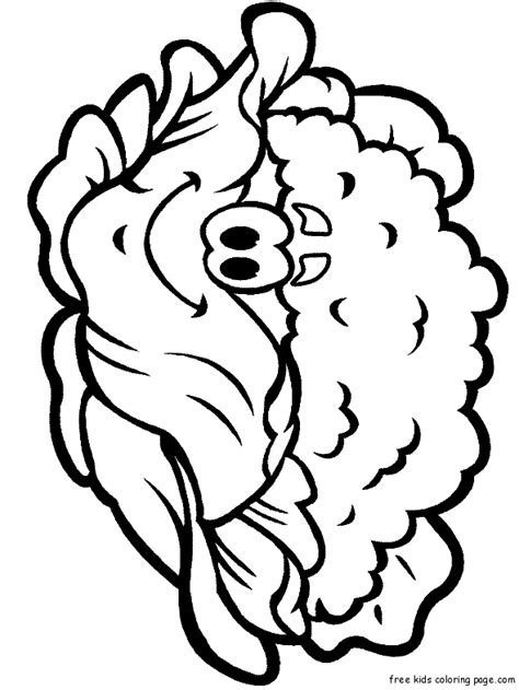 print  vegetable happy face cauliflower coloring page