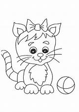 Coloring Cat Pages Cute sketch template