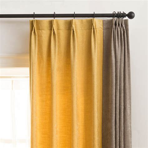 mustard yellow solid splicing modern curtains