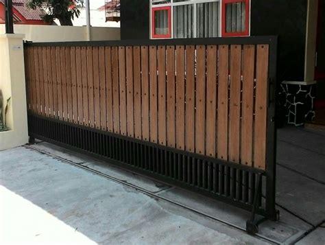 pintu pagar besi dorong minimalis terbaru  jakarta