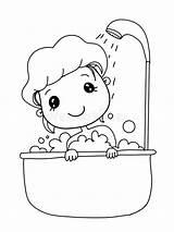 Bathing Cartoon Child Gullig Het Drawing Clipart Bathtub Bada Foer Illustrationer Kind Duschen sketch template