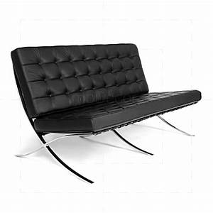 Barcelona love seat 2 seat sofa black leather for Sofa barcelona couch
