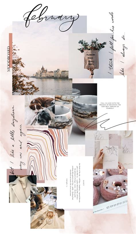 february  background monthly goals collage