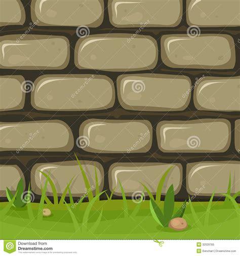 cartoon rural stone wall stock vector illustration