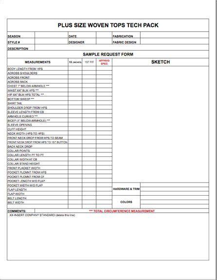 size spec sheet blank template womens mens