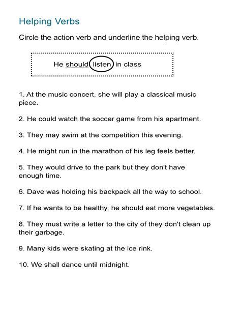 helping verbs worksheet identify  action  helping