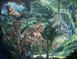 King Kong Vs T-rex Painting by Bryan Bustard