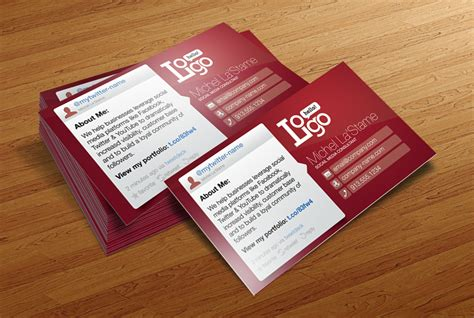 social media business card template cursive  designs
