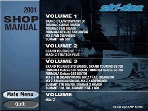 Bombardier Ski Doo 2001 Parts Catalog Repair Manual Order